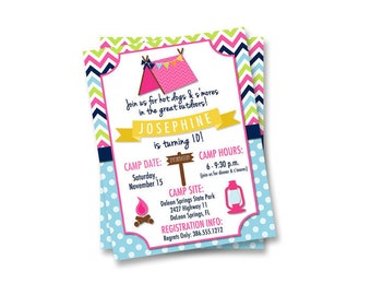 Camping Birthday Invitation, Girls Camping Invite, Glamping Invitation, Printable Invitation, Birthday Party Invite