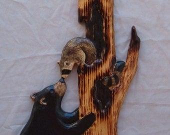 BLACK BEAR CUB & raccoon Wood Carving Chainsaw Log Cabin Decor Wall Art Wood