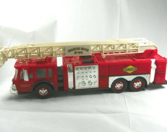 VINTAGE 1995 Sunoco Red Firetruck #94 Marcus Hook Sun Company Philadelphia PA 95 Christmas No 94 Fire Truck White Ladder Bucket Prop Fun