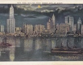 New York Skyline By Night- 1910s Antique Postcard- Moonlight Sky- Steamship in Harbor- Souvenir View- Edwardian Decor- Paper Ephemera