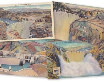 Boulder Dam- 1930s Vintage Postcards- SET of 4- Hoover Dam- Nevada Arizona- Colorado River- Intake Towers- Landmark Souvenir- Paper Ephemera