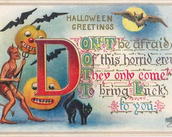 Horrid Harem- 1910s Antique Postcard- Edwardian Halloween Decor- Red Devil- Black Cat- Jack-O-Lanterns- Pumpkins Art- Paper Ephemera