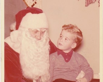 Santa's Lap- 1960s Vintage Photograph- Christmas Decoration- Color Photo- Holiday Snapshot- Little Boy and Santa Claus- Paper Ephemera