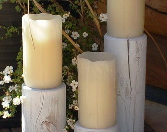 Rustic Candle Wedding Centerpiece White Wood Shabby Chic Holiday Home Garden Decor Lighting