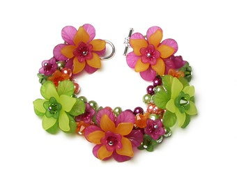 Tropical Mango Citrus Floral Crystal Charm Bracelet, Hot Pink Lime Green Orange Lemon Bold Statement Jewelry Colorful Pearl Clusters, Summer