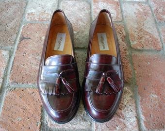 VTG Mens 9w Mezlan Santander Kilty Tassel Loafers Slip On Loafer Dress Oxfords Burgundy Leather Wedding Suit Shoes Preppy Designer Hamptons