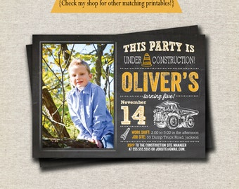 Dump Truck Invitation Invite | Construction Invitation Invite | Construction Birthday Party Printables | Chalkboard Invitation Invite