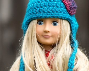 "Turquoise Heart Crochet Hat for 18 inch Doll, Ready to Ship, Crochet Hat, Doll Accessories, Winter Hat, Doll Clothes, 18"" Dolls"