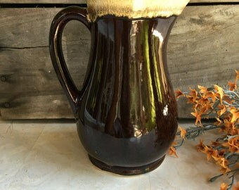 Vintage Roseville Pottery Pitcher RRP Brown Drip Glaze - #F2046
