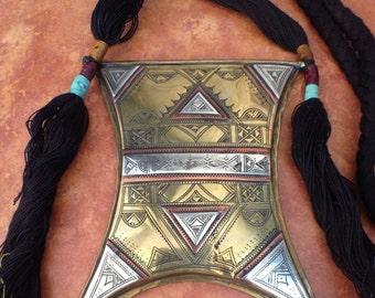 Huge Tuareg Gri Gri Copper and Silver AMULET TSCHEROT Talisman, Niger
