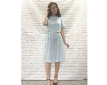 Vintage 50s Light Blue Gingham Plaid Dress Knee Length Dorothy Costume Clearance XL XXL