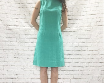 Vintage 60s Mod A-Line Turquoise Linen Dress M Sleeveless Knee Length
