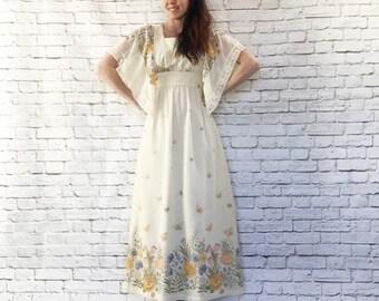 Vintage 70s Cascade Floral Maxi Dress S M Handkerchief Sleeves Buttercream Butterflies Macrame Trim