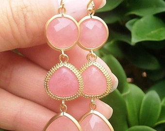 Gold Pink Jade Earrings. Gold Pink Earrings. Soft Pink Earrings. Bridesmaid Earrings. Bridesmaid Gift. Wedding Earrings.Bridal Jewelry.Mom.