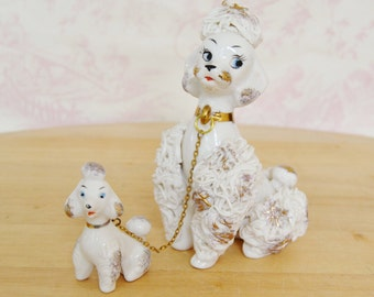 Vintage White Poodle with Chain Puppy and Spaghetti Trim by Napcoware