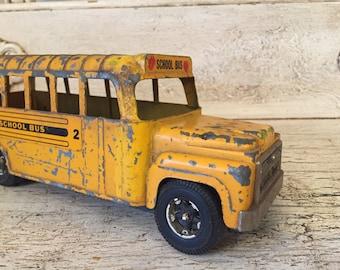 Vintage Hubley Toy Metal School Bus - Great for Vintage Nursery or Child's Room