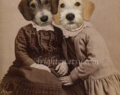 Dog Art Print, Dachshund Mix, Animals in Clothes, Sister Art, Dogs in Dresses, Anthropomorphic, 8x10 Print, Collage Art