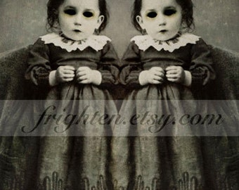 Halloween Wall Art, 8x10 Inch Print, Creepy Twins Art, Black and White, Horror Decor, Halloween Decor