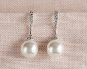 Pearl Bridal Earrings, Classic Pearl Wedding Earrings, Rose Gold Bridesmaid earrings, Swarovski Pearl drop Earrings