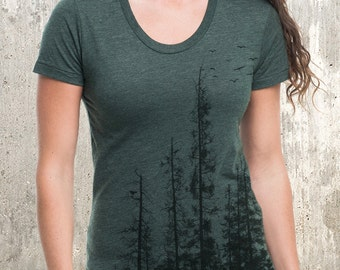 Women's Forest T-Shirt - Screen Printed American Apparel Women's Tri-Blend T-Shirt