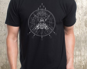 Arrows Compass Triangles Collage - Men's Screen Printed Tee Shirt - American Apparel