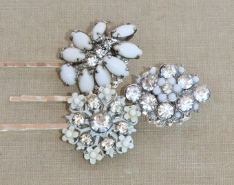 Vintage Milk Glass Jeweled Bobby Pins,Bridal Hair Pins,Vintage Milk Glass Earrings & Brooches,Bridesmaids,Something Old,Silver and White,Set