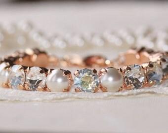 NEW Rose Gold Swarovski Rhinestone Tennis Bracelet,Clear Diamond Mist & Pearl Bracelet,Bridal,Weddings,Crystal Clear,Special Occasion,Gift