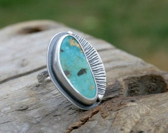 Candelaria Turquoise Ring in Sterling Silver. US Size 6 to 6.5 to 7. Natural High Grade American. Silversmith metalwork ring. Handmade.