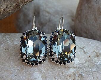 Smokey grey black diamond drop earrings, Swarovski crystal earrings, Silver Crystal earrings, Gray drop earrings, Gray swarovski earrings