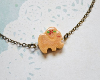 Little Elephant Bracelet - Elephant Jewelry - Animal Jewelry - Lucky Elephant Charm - Good Luck Bracelet -  Vintage Wooden Charm