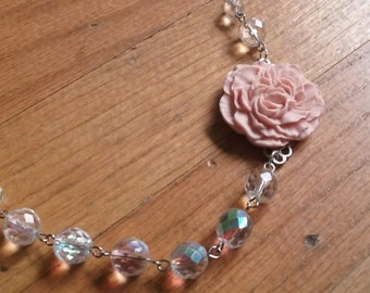 Faceted crystal and pink ruffled rose silver necklace