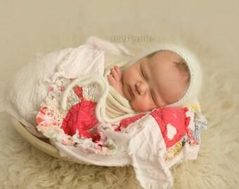 Angora Bonnet- Newborn Size- Photography Prop- You Choose the color!