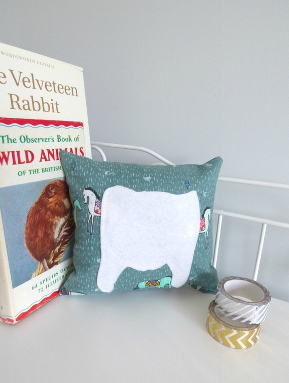 Tooth Pillow. Teal Horse Fabric Mini cushion with a by Madebydolly