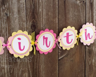 Sunshine Personalized Happy Birthday Banner -You Are My Sunshine -Birthday Banner -Photo Prop -Sun -Pink Yellow -Baby Shower -Sun Birthday