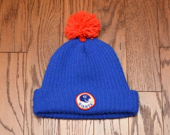 vintage 70s 80s Giants ski cap knit hat winter hat New York Giants NFL football beanie red blue white hat 1970 1980 pom pom hat