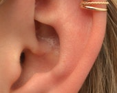 Ear Cuff - Dainty Three Wire with Twist- Cartilage - Sterling Silver and 14K Gold Filled - SINGLE SIDE