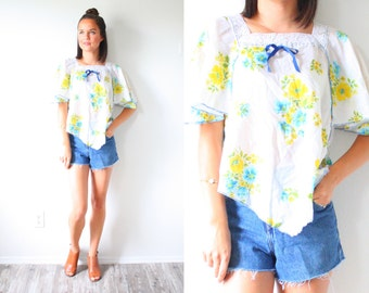 Vintage floral navajo blouse // Mexico lace crochet hippie top // festival style top // yellow floral boho top // bohemian // white blouse