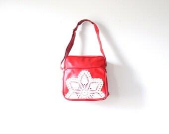 Vintage bright red lace doily bag // up-cycled purse // boho overnight bag // luggage bag // lace crochet luggage bag // large travel bag