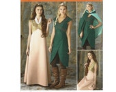 Fantasy Costume Ladies Simplicity 4940 Medieval Gown Sizes 8 10 12 14 Bust 31 1/2 32 1/2 34 36 Uncut Sewing Pattern Guinevere robin hood