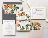 """Vintage Floral Wedding Invitations, Blush, Beige and Gray, Whimsy Fonts, Floral Envelope Liners - """"Shabby Rose"""" Sample"""