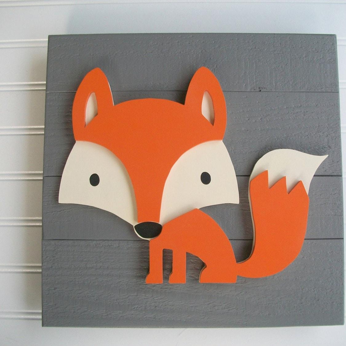 Fox sign 12 x 12 3d fox decor fox nursery fox sign for Decoration renard