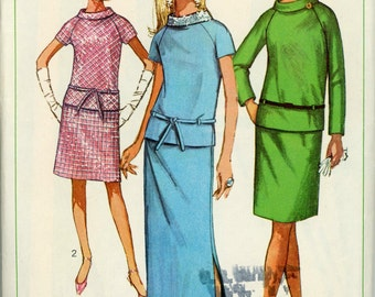 1967 Simplicity Mod Roll Collar Dress in 3 Styles Mini or Maxi Dress Sewing Pattern 7294, Size 16, Bust 36, Unused