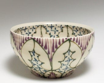 Small Wheel Thrown Handmade Ceramic Bowl with Green, Purple and Navy Pattern