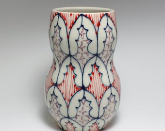 Handmade Wheel Thrown Ceramic Vase with Navy, Red and Purple Pattern