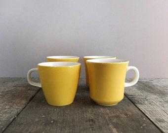 Set of 4 - Vintage Yellow Mikasa Mugs / 1960s Coffee Cups