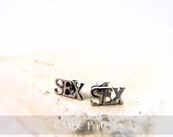 SEX Stud Earrings - Stainless Steel