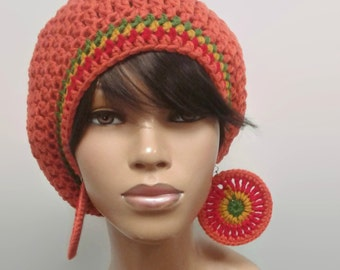MADE TO ORDER Orange Crochet Slouch Hat/ Slouchy Beanie/ Tam with Rasta Stripes Red Gold Green and free matching earrings