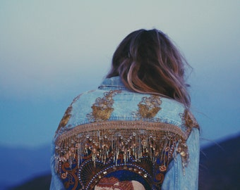 Embellished Elephant Jacket in Royal Blue