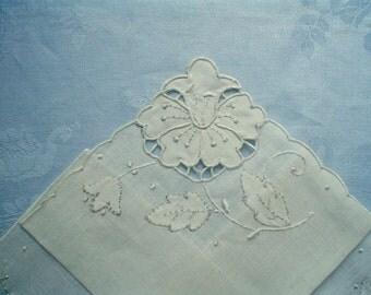 New Madeira Hankie with Cutwork Flower Embroidered Linen Unused Vintage Handkerchief with Label