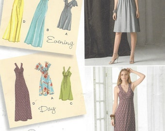 Womens Knit Dresses in 2 Lengths Day to Evening Simplicity Sewing Pattern 2219 Size 14 16 18 20 22 Bust 36 38 40 42 44 UnCut